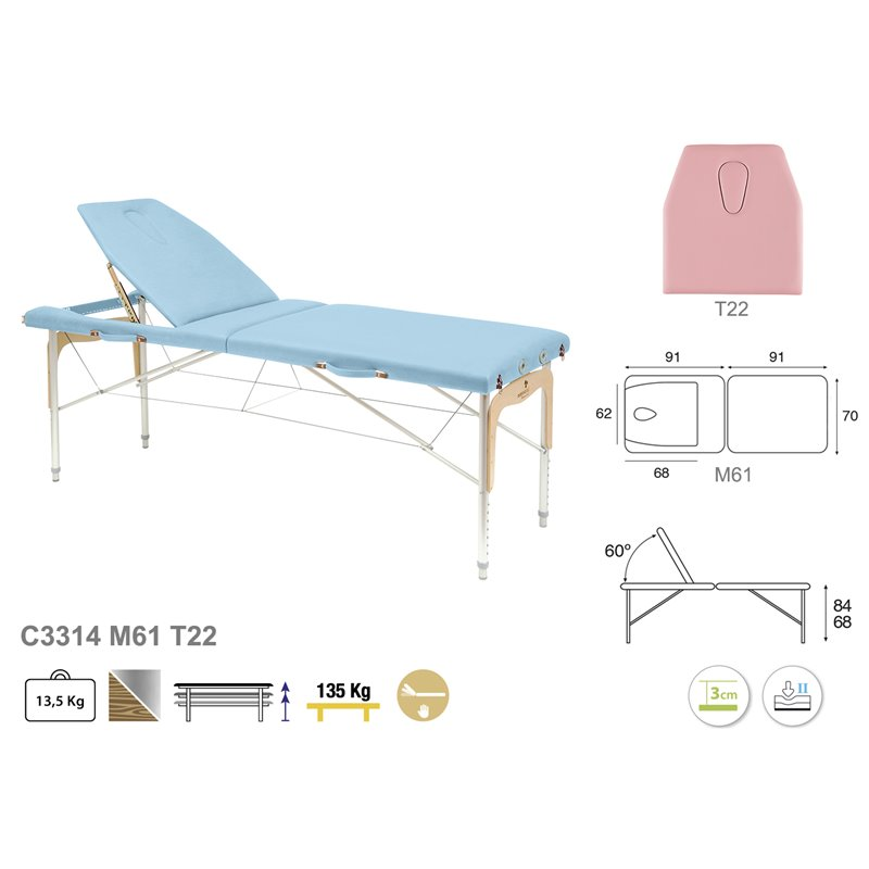 C3314 Table pliante 2 plans Ecopostural - schéma - Malys Equipements