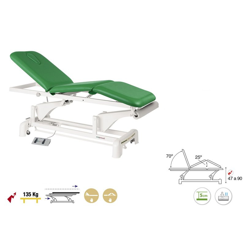 C3525 Table électrique 3 plans Ecopostural + 1 tabouret OFFERT