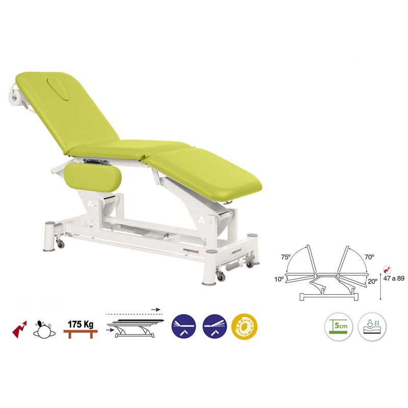 C5556 Table électrique 3 plans Ecopostural + 1 tabouret OFFERT